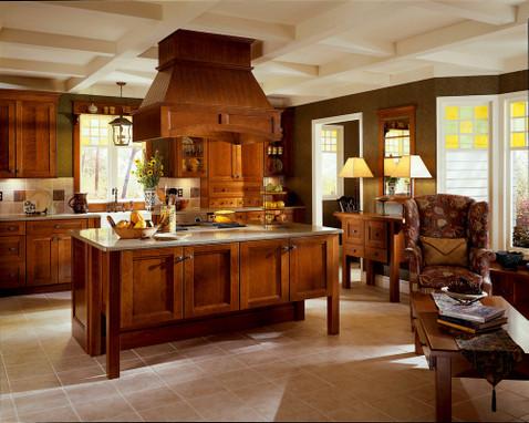 Cherry Kitchen In Cognac Featuring Vista Mullion Glass