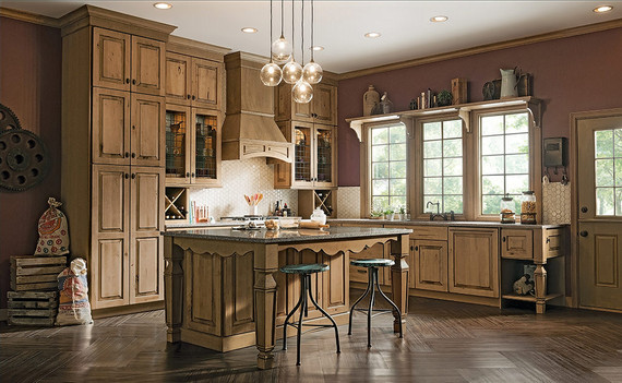 Kitchen Featuring Distressed Finish Kraftmaid