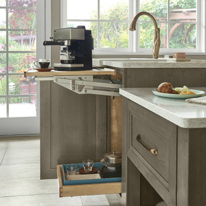 Using a Base Mixer Shelf creates additional counter space for breakfast essentials but then quietly swings back out of sight.