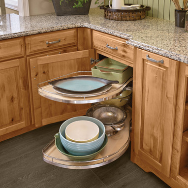 Base Blind Corner With Chrome Swing Outs Kraftmaid