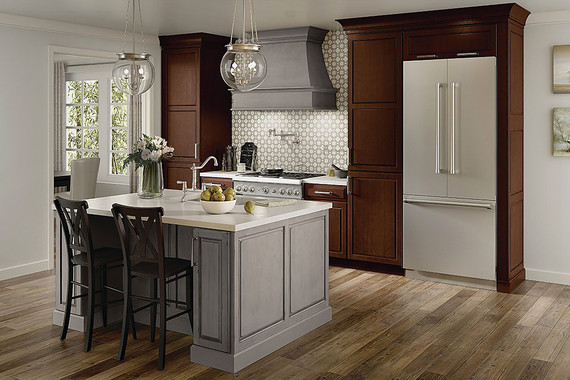 Maple Kitchen In Aged River Rock Amp Kaffe Cherry Kraftmaid