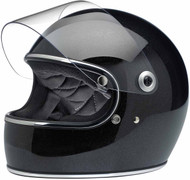 Biltwell Gringo S Miniflake Helmet Midnight Black Left Shield Up