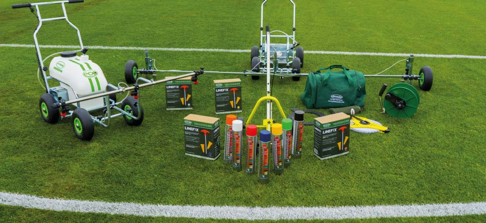 Complete range of line marking accessories and equipment for marking out grass football or rugby grass pitches.