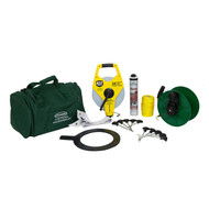 Initial line marking kit including string-line, measuring tape and handheld guide reel. Improve accuracy when marking your sports pitch for the first time.
