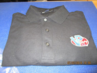 VP RACING FUELS- Black pull over 3 button SHIRT w/ logo on frnt-Men's Size Large