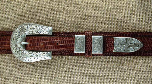 The Rosenburg Sterling Silver 4PC Ranger Buckle Set
