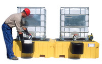 UltraTech Twin IBC Spill Pallet 1147 with 2 bucket shelves - with Drain