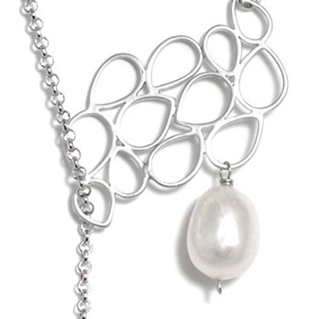 Leaf Cluster Pearl Drop Necklace