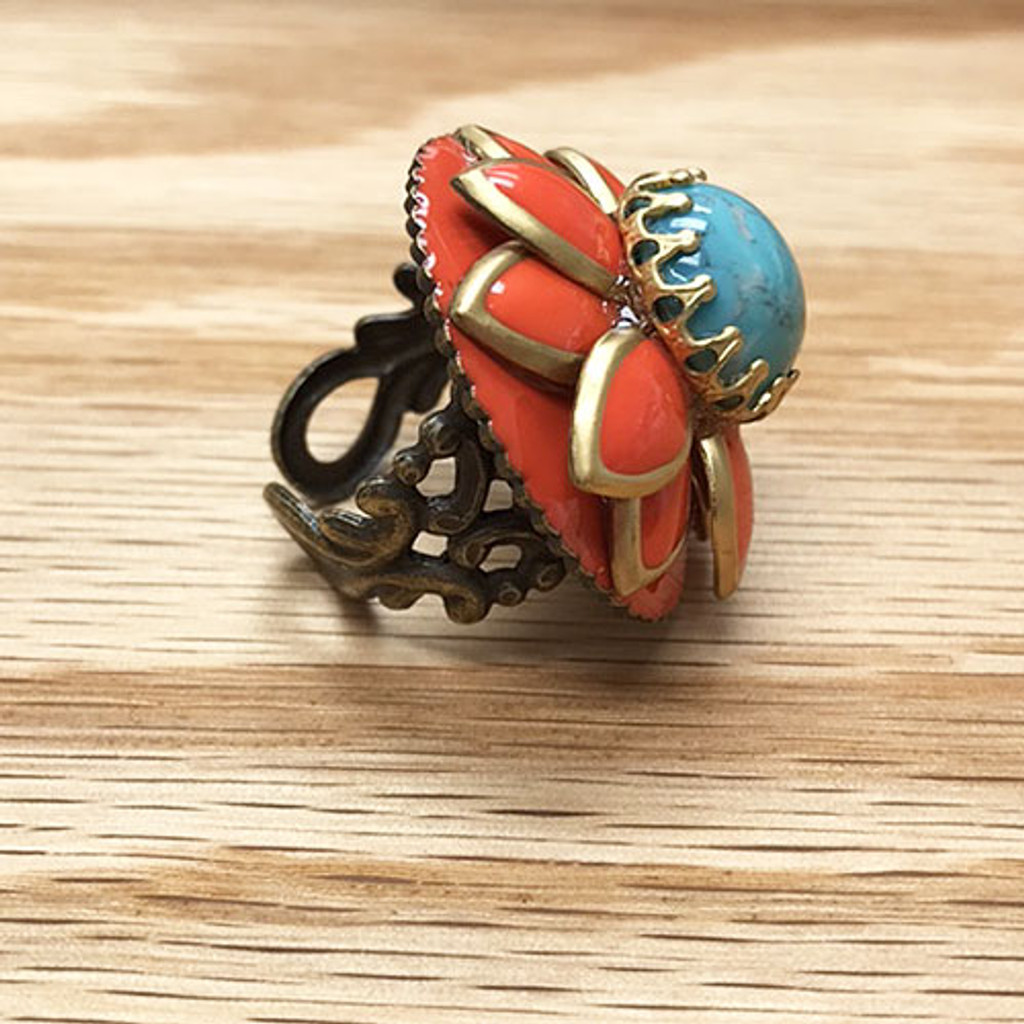 Coral and Turquoise Flower Ring