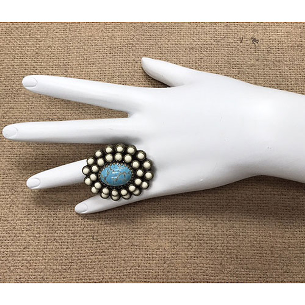 Turquoise Oval with White Ring