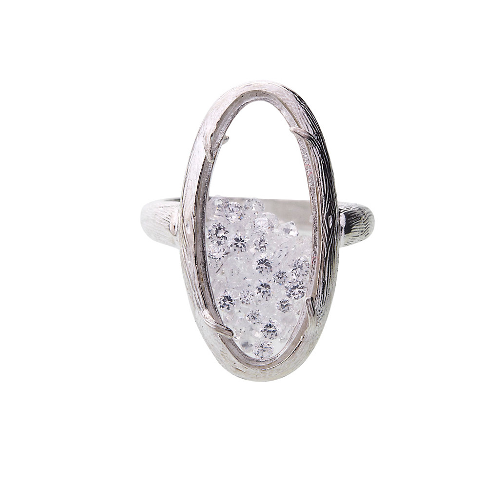 Oval Glass Encased Crystal Ring S