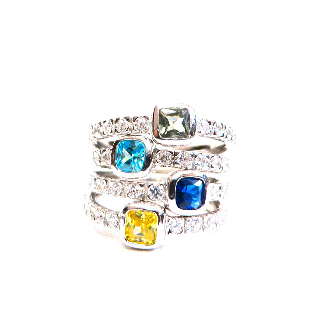 Four Stackable Square Cubic Zirconia and Gemstone Set