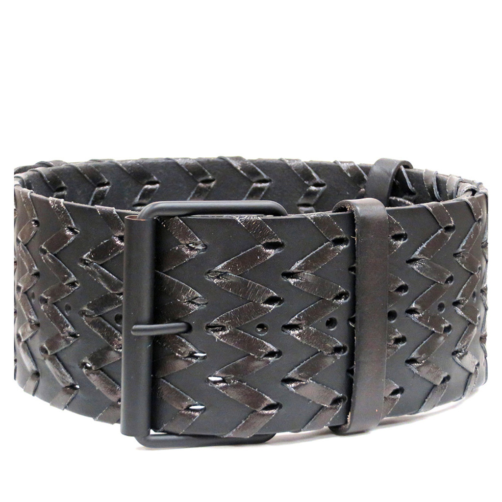 Wide Leather Zig Zag Belt