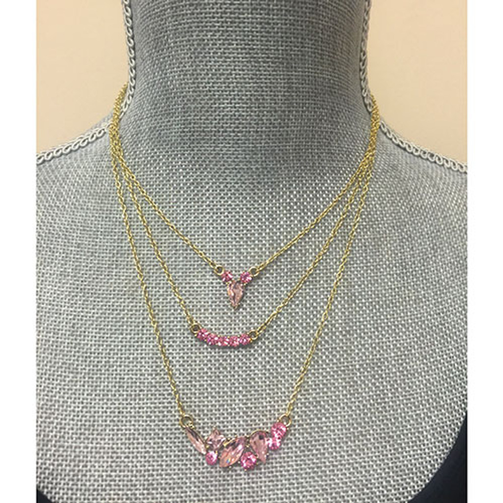 Rose & Light Rose Crystal Triple Layer Necklace