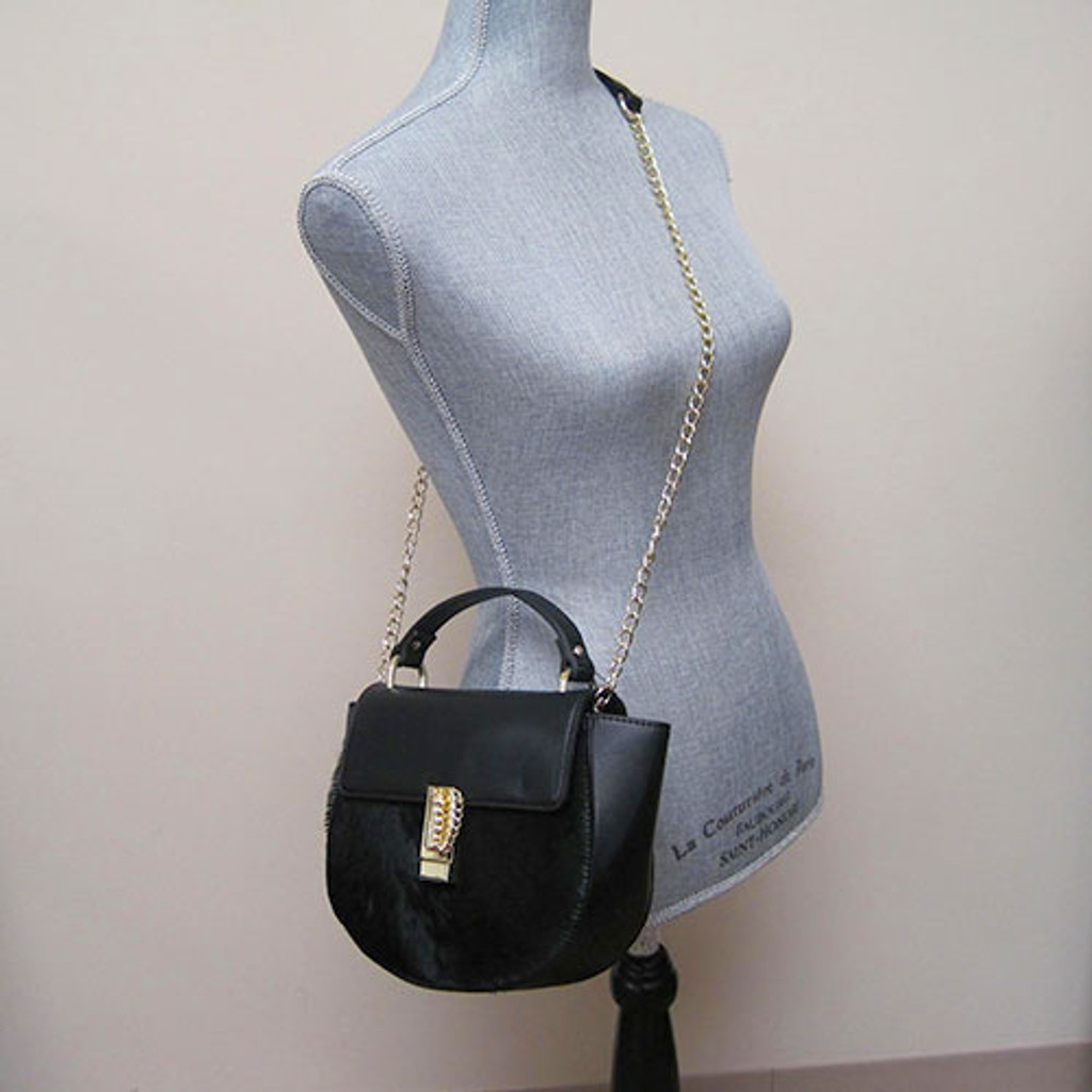 Sondra Roberts Black Hair-calf and Leather Pippa Cross Body