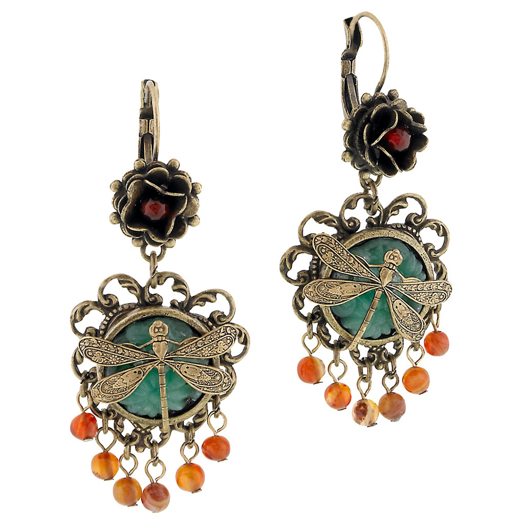 Dragonfly Drop Vintage Glass Earring