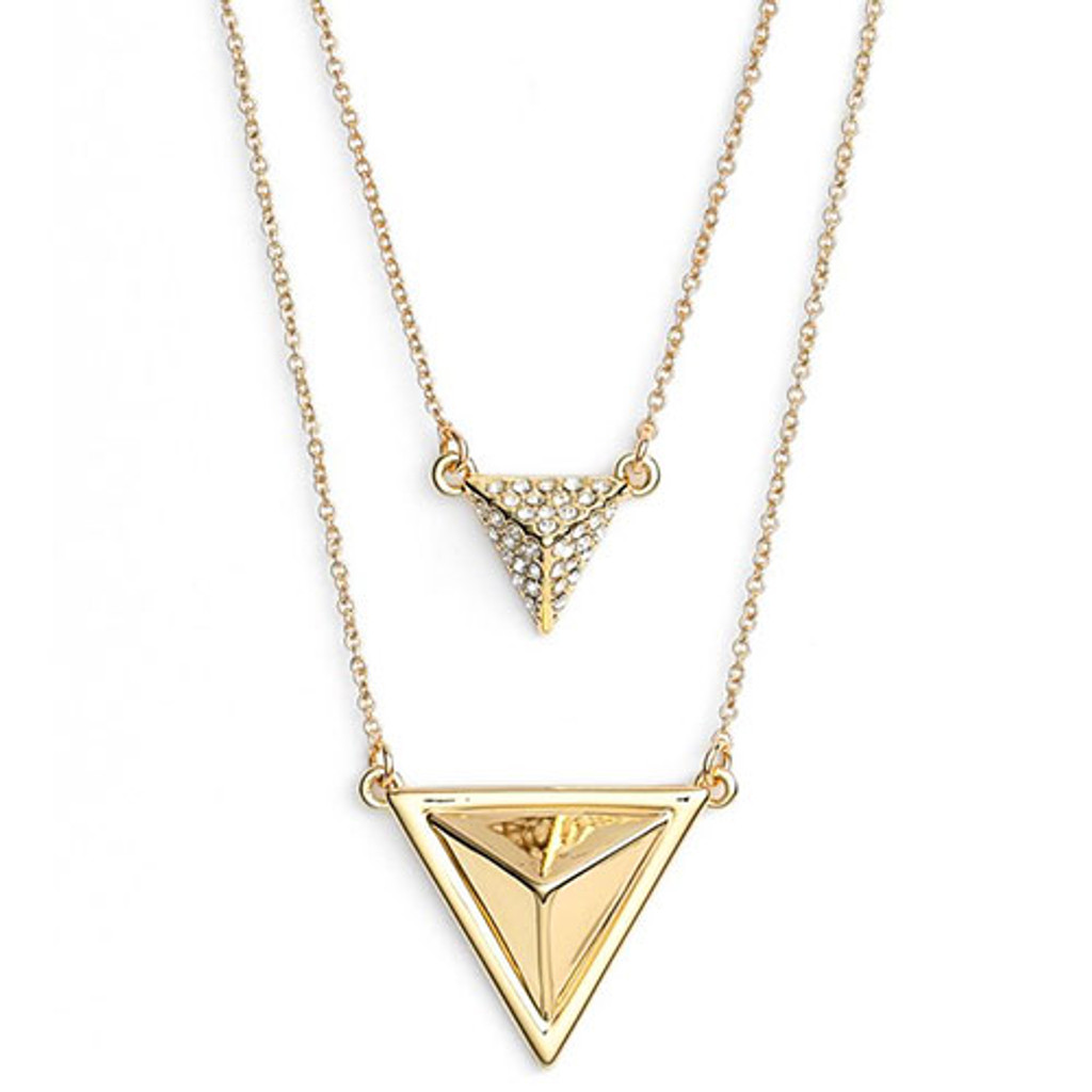 House of Harlow Double Layered Pyramid Necklace in Silver 1