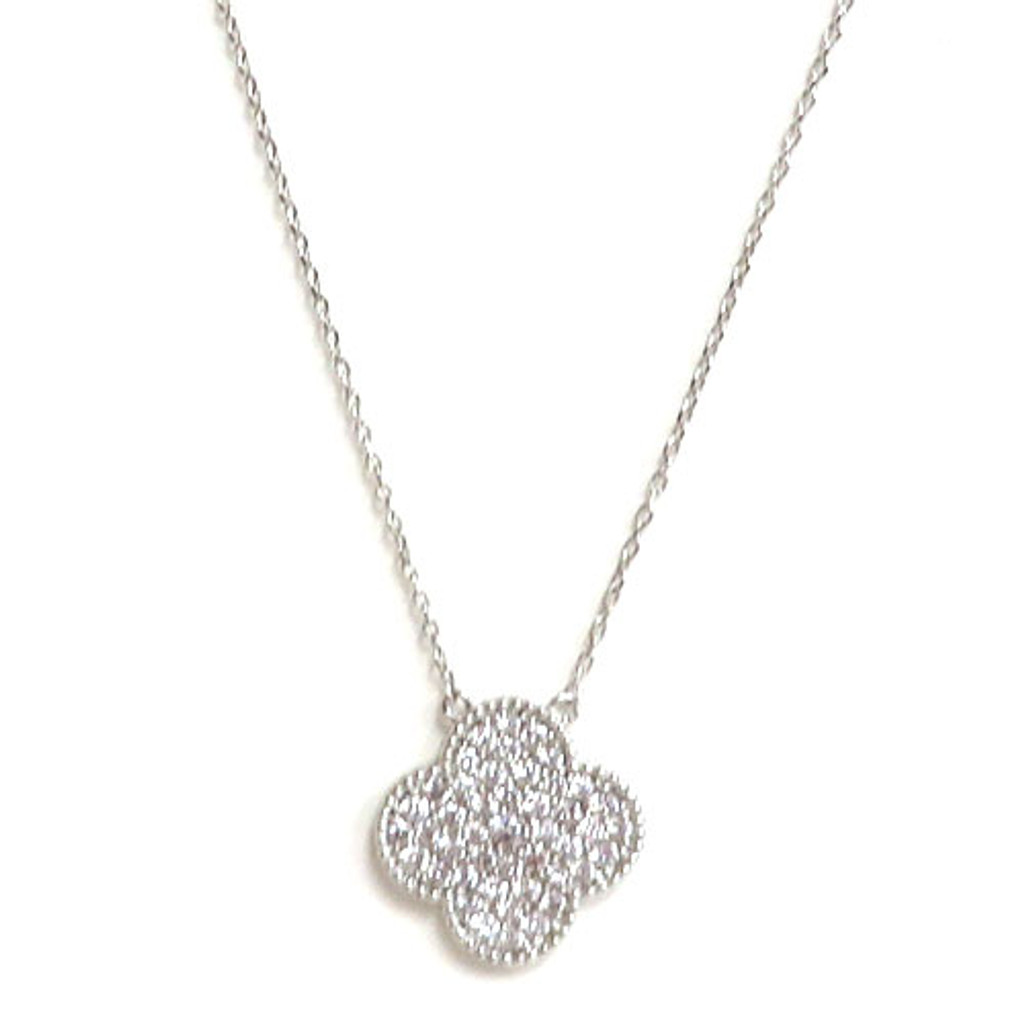 C.Z. Clover Necklace in Silver