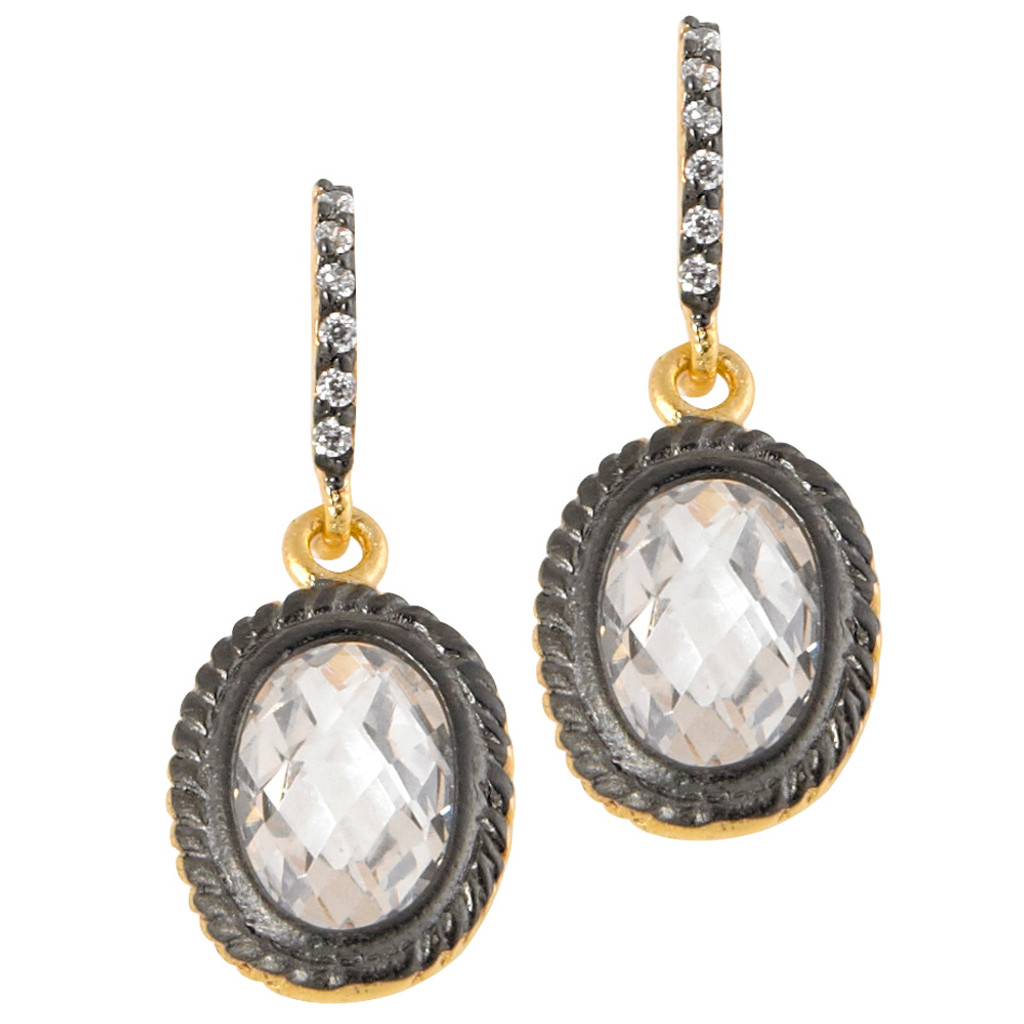 Freida Rothman's 14K Gold Vermeil and Black Oval Drop Earrings