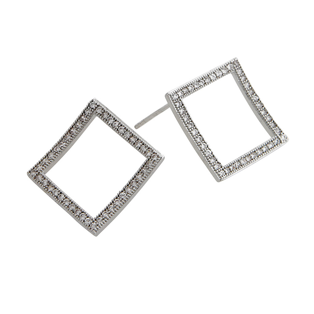 Cubic Zirconia Open Square Earring