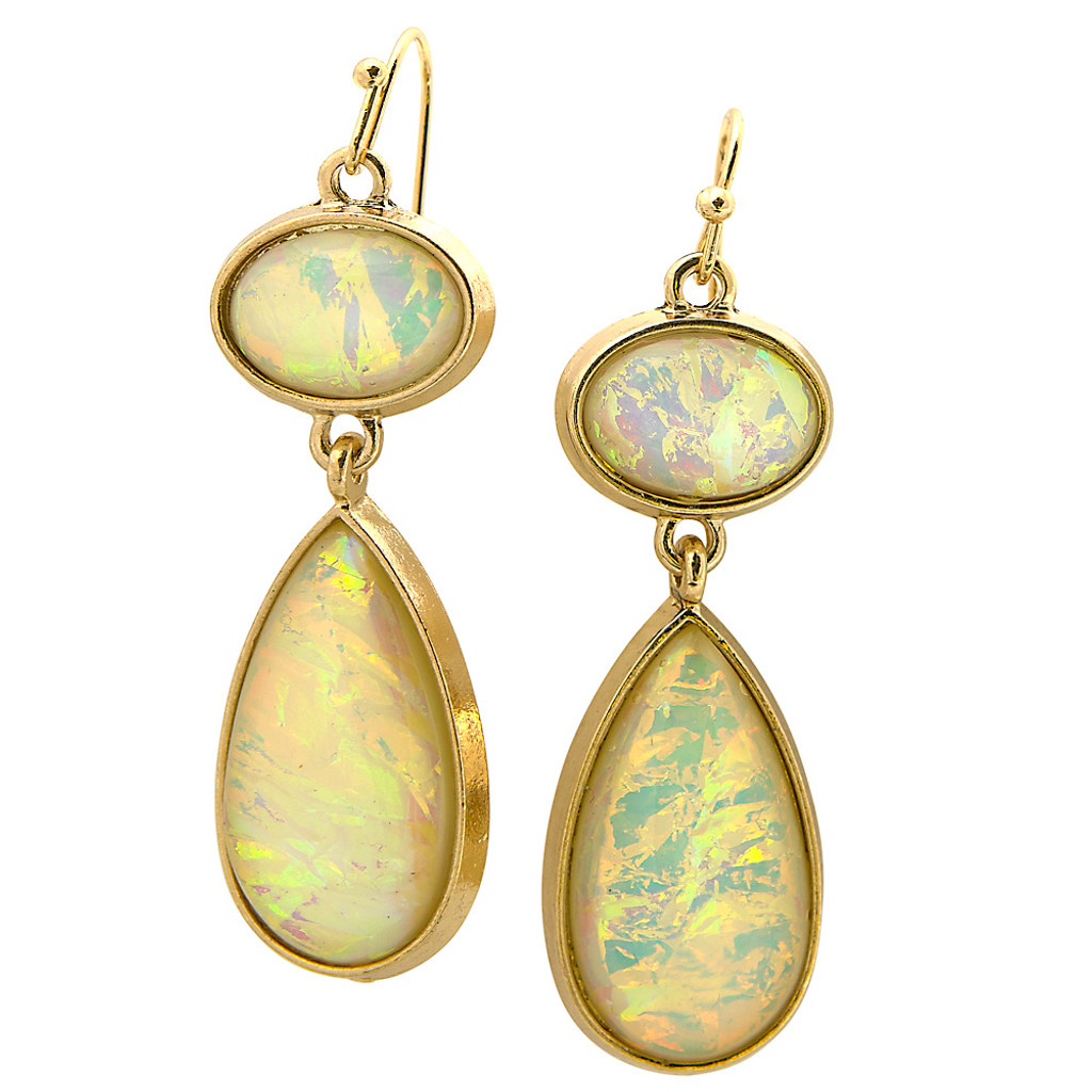 Pastel Yellow Opal Teardrop
