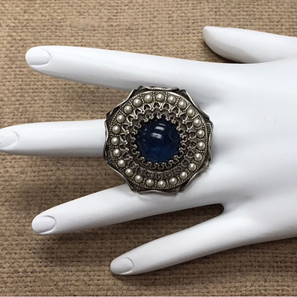 Montana Blue and Pearl Filigree Ring