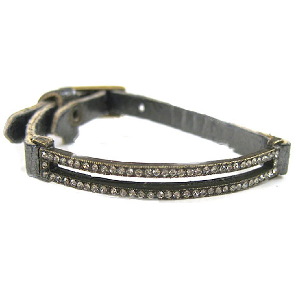 Open Rectangle Crystal and Leather Bracelet