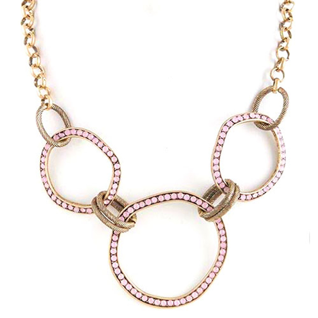 Antiqued Circle Links Necklace-Pink