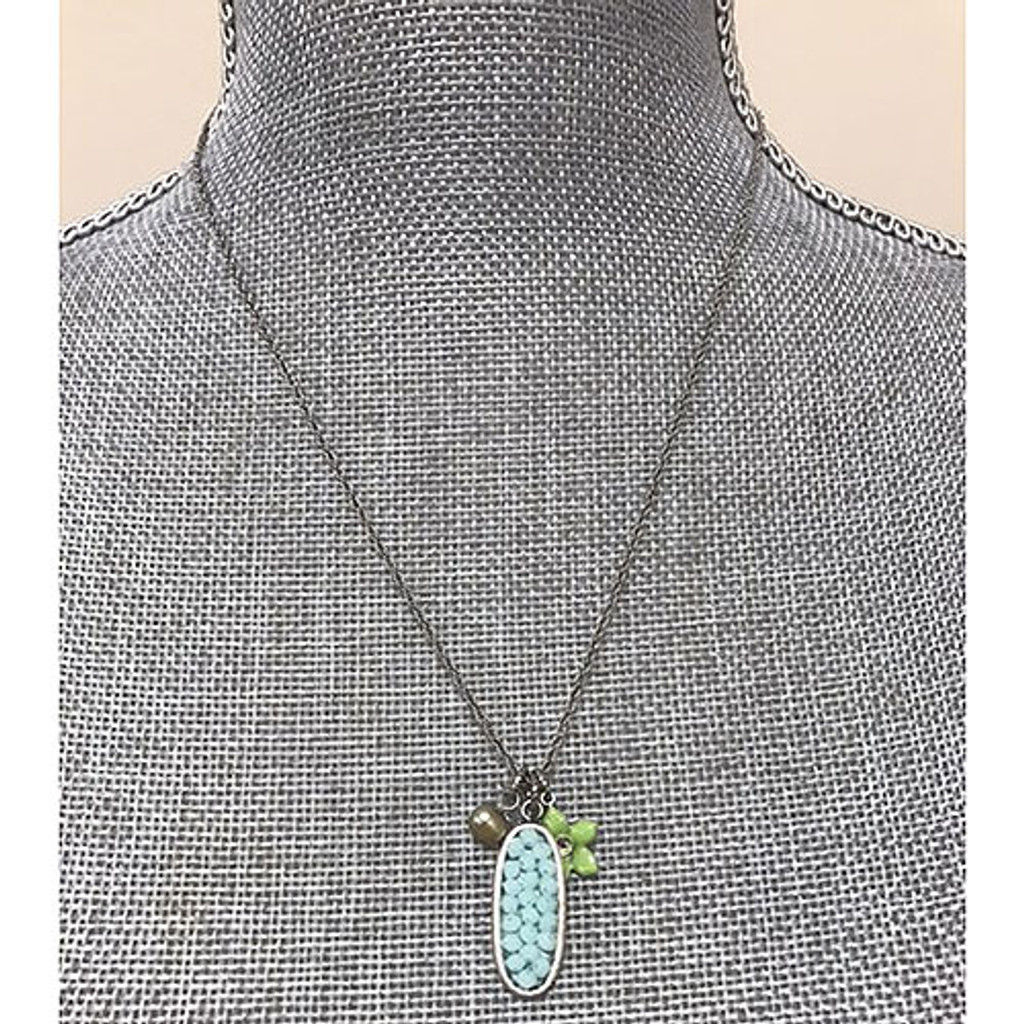 Turquoise and Green Charm Necklace