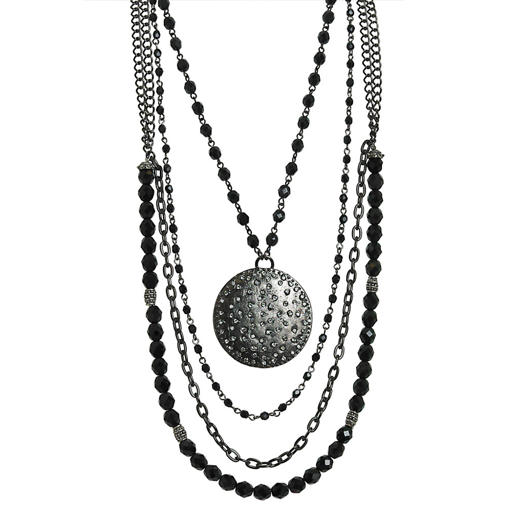 Jet Black and Gunmetal Chains Draped Necklace