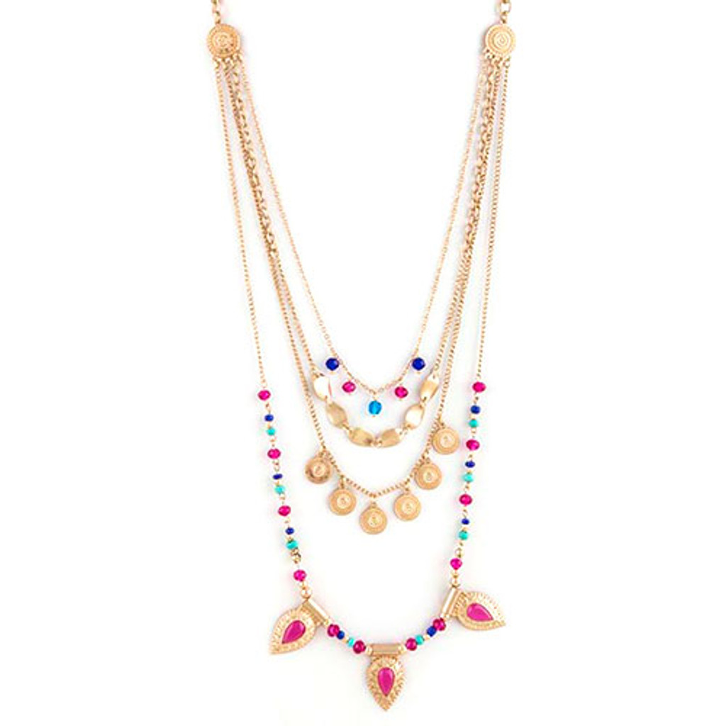 Multi Layered Beaded Links Necklace