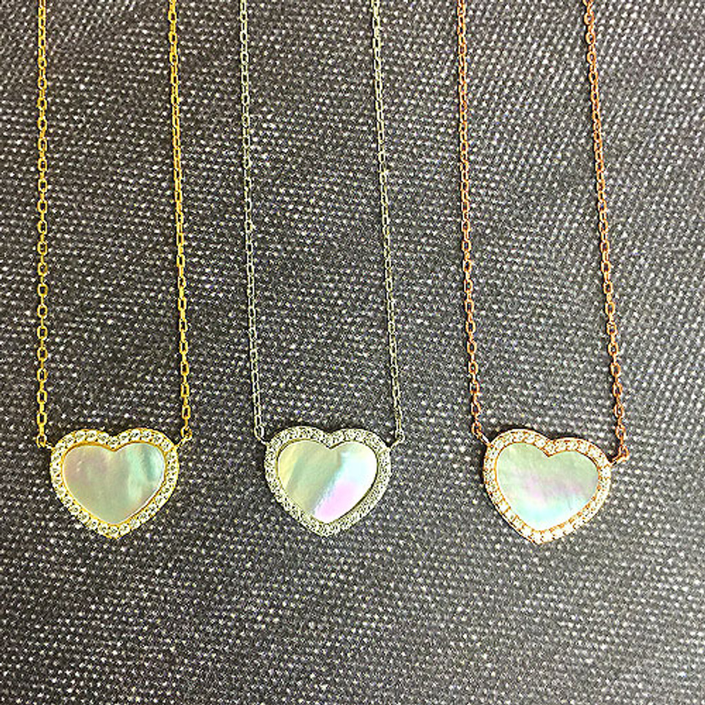 Sterling Silver & Mother-of-Pearl Heart Necklace