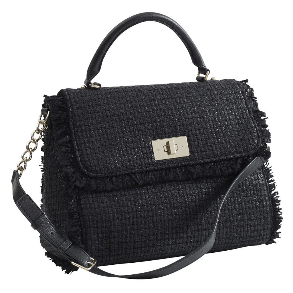 Frayed Black Woven Satchel Handbag