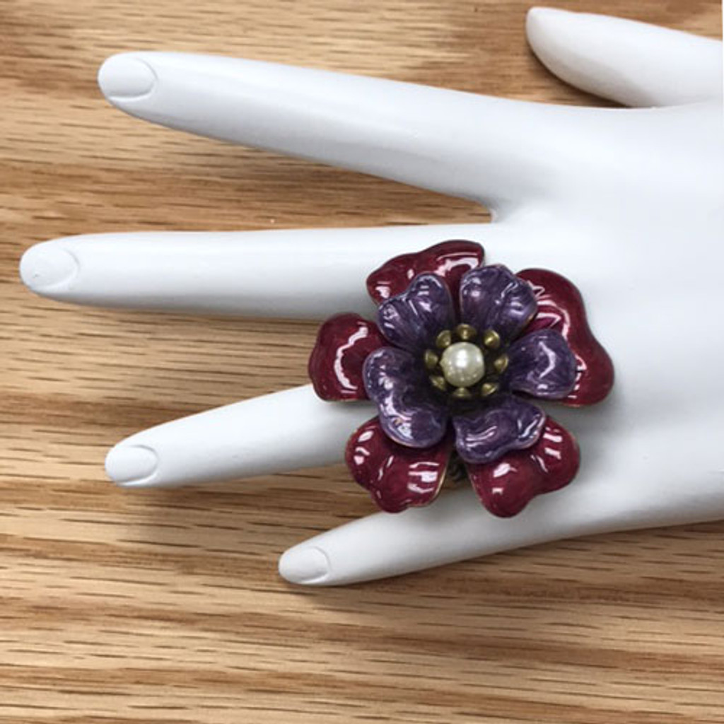 Pink and Purple Enameled Flower Ring