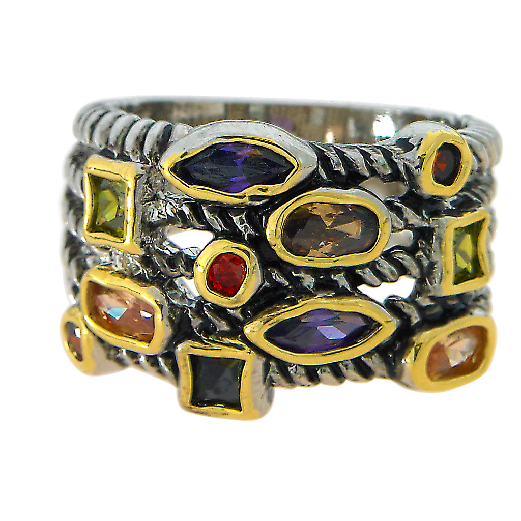 Layered Look Multi Stone Ring