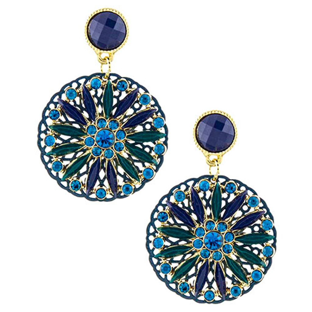 Blue Kaleidoscope Disk Earrings