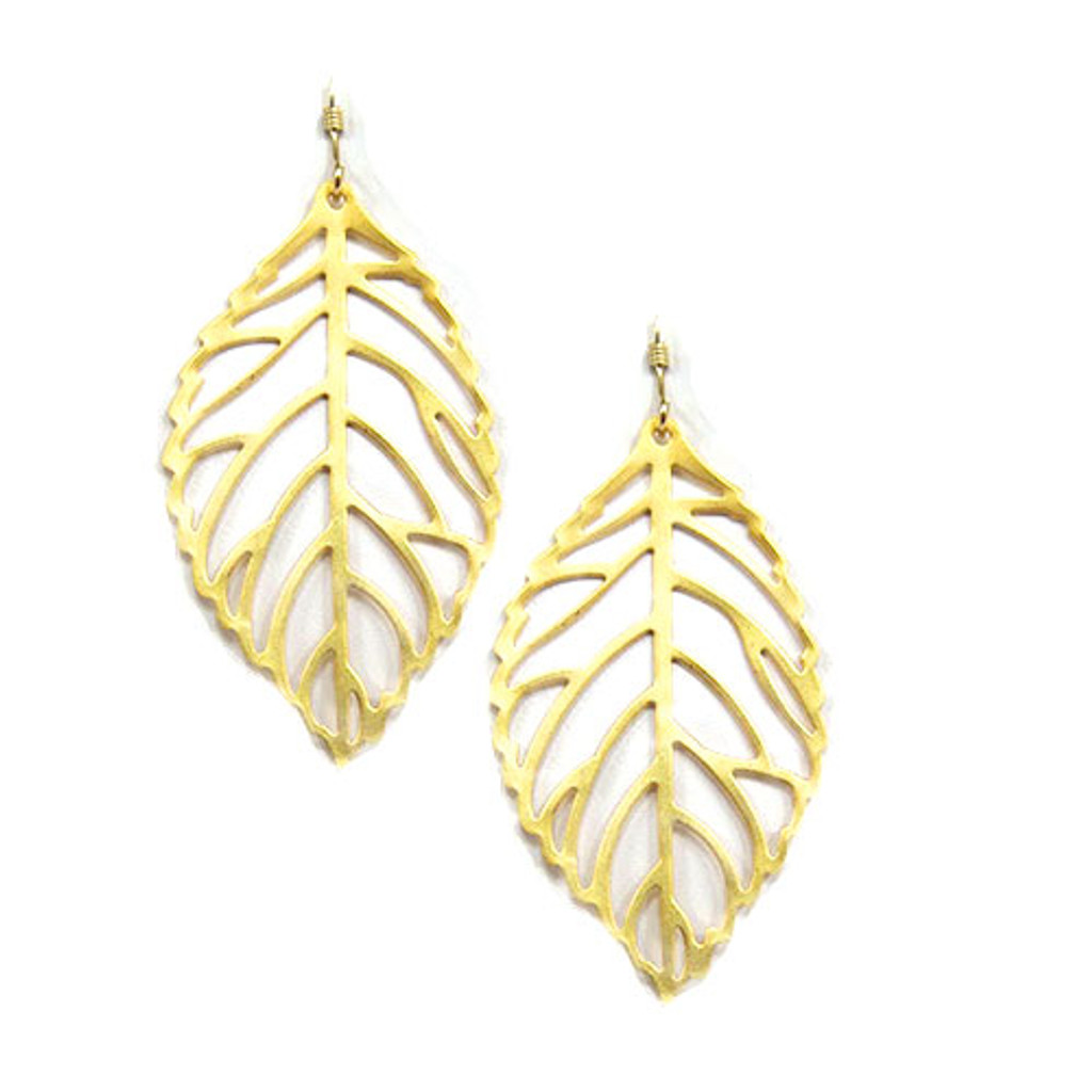 Matte Gold Leaf Earring