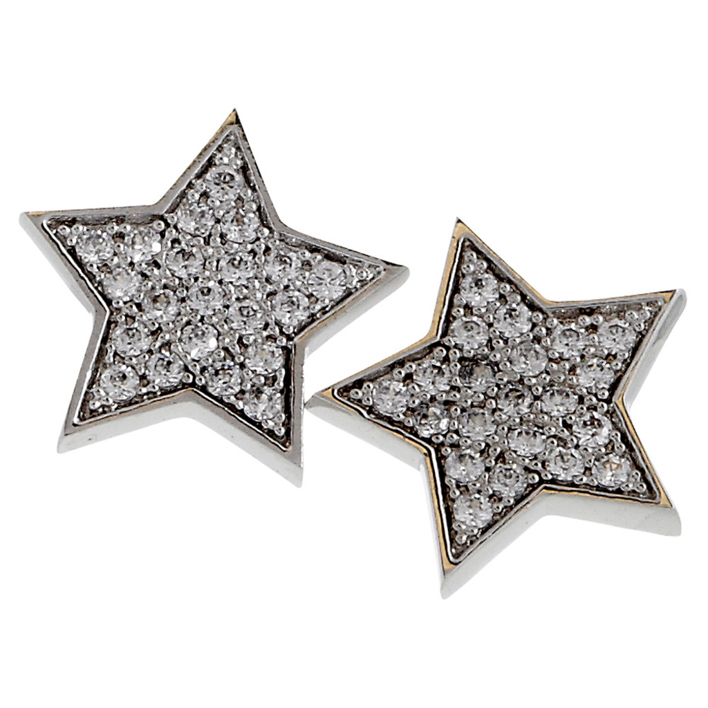 Cubic Zirconia Pave Star Post Earring