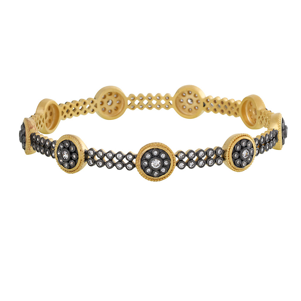Freida Rothman's Gunmetal and Gold Disc Bangle