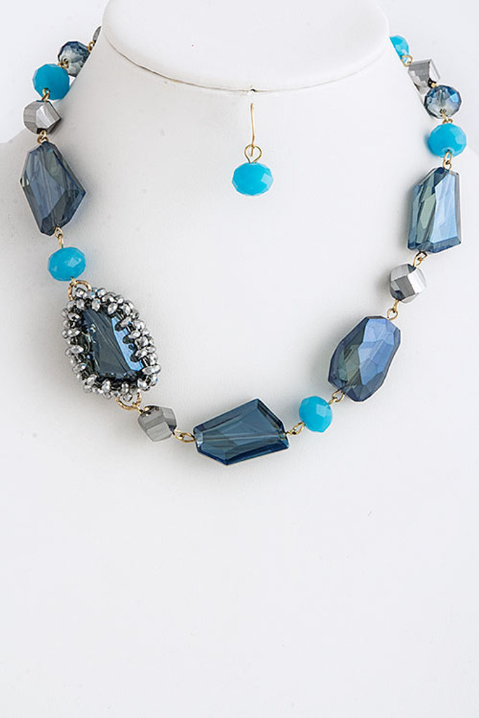 Large Faceted Blue Crystal Necklace