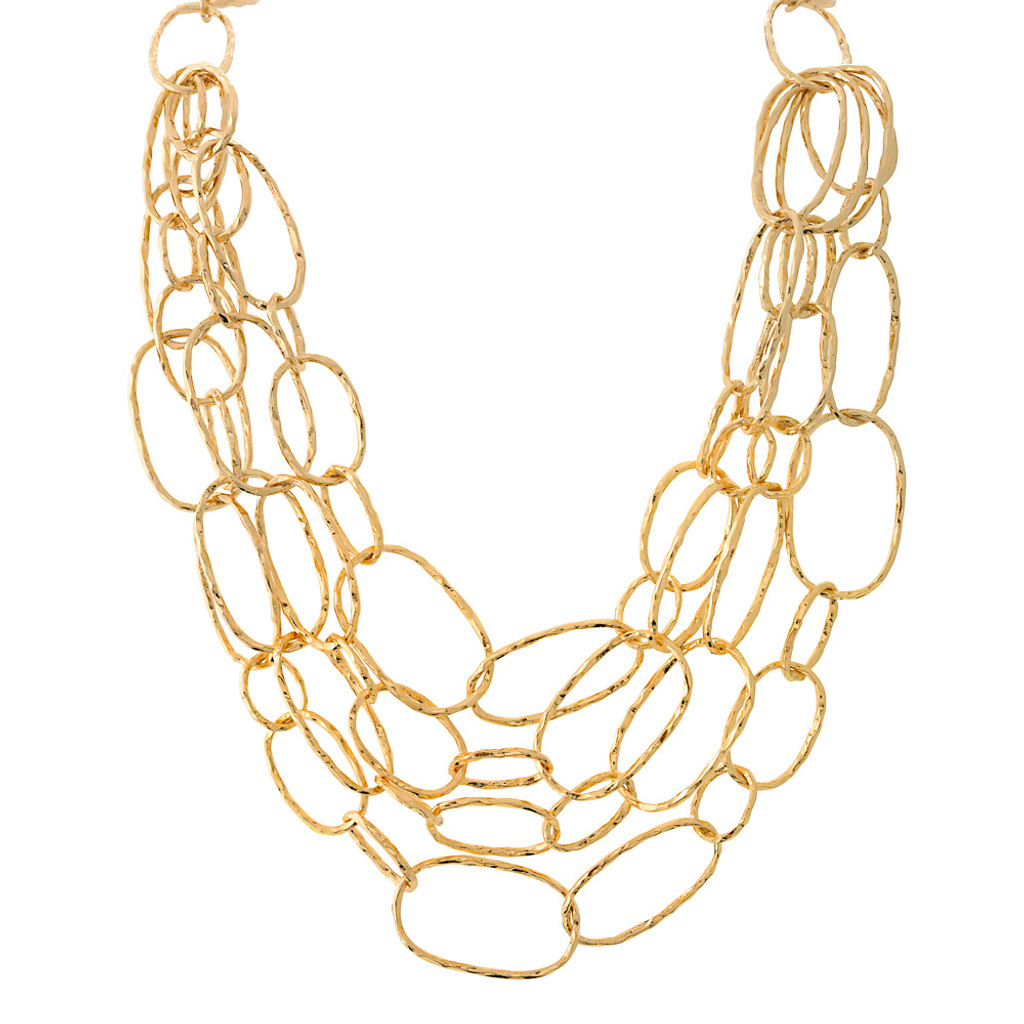 Gold Layered Oval Necklace