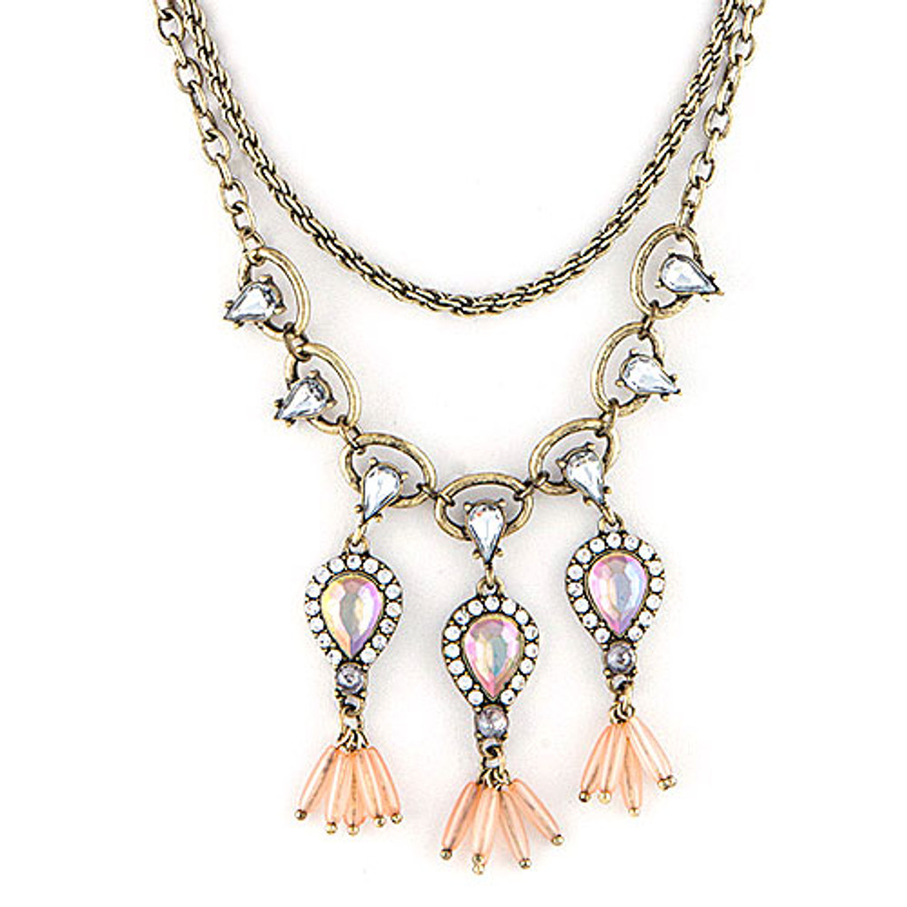 AB Teardrops & Layered Antiqued Chains