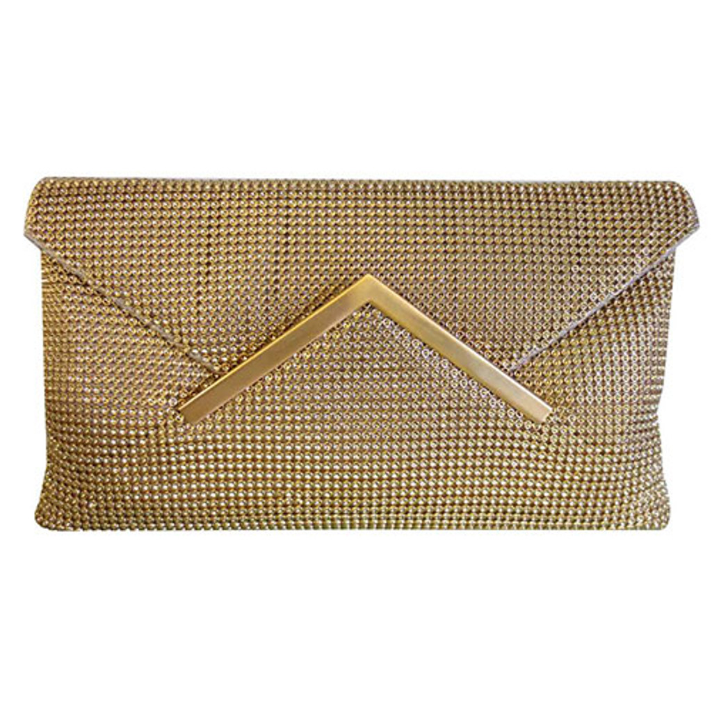 Sondra Robert's Gold Metal Mesh Envelope Clutch
