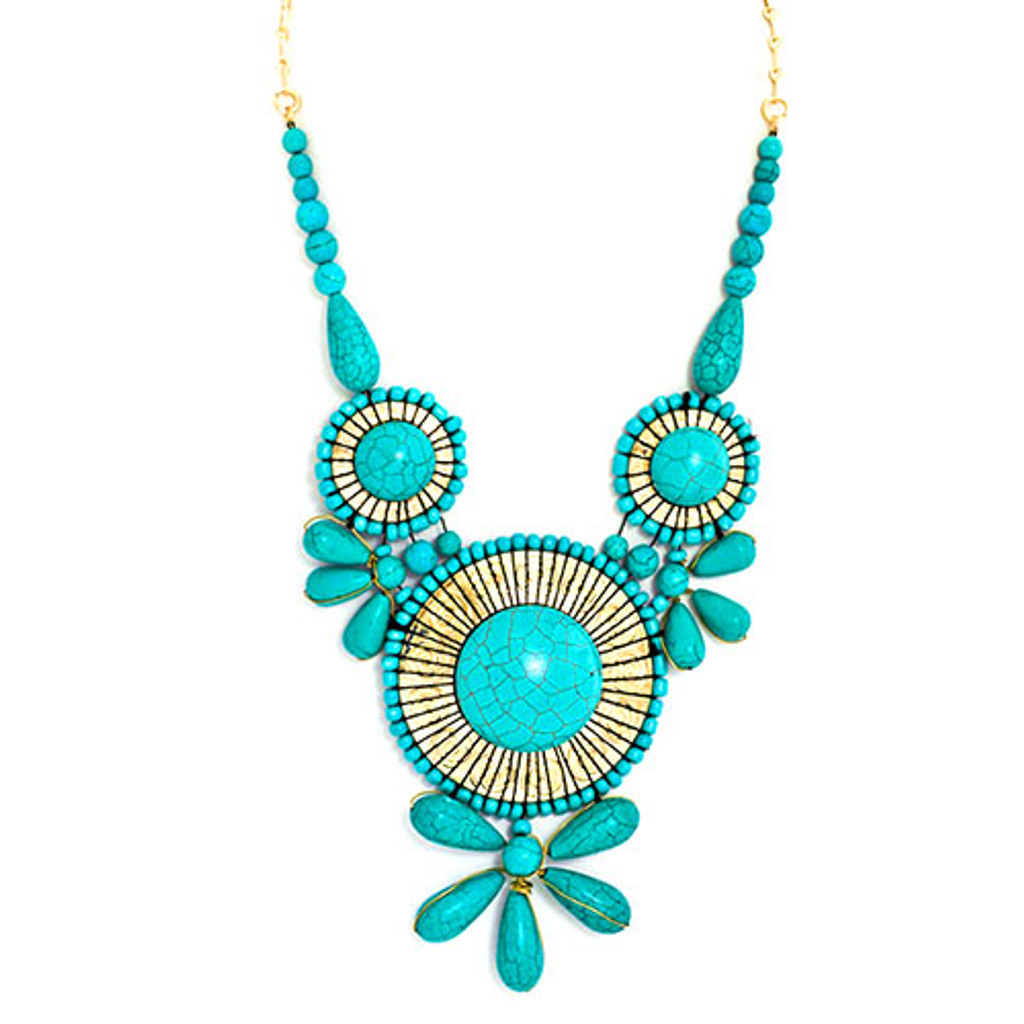 Large Turquoise Hampton Statement Necklace