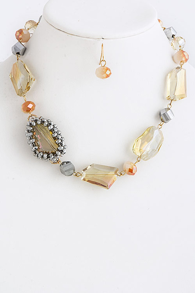 Large Faceted Champagne Crystal Necklace
