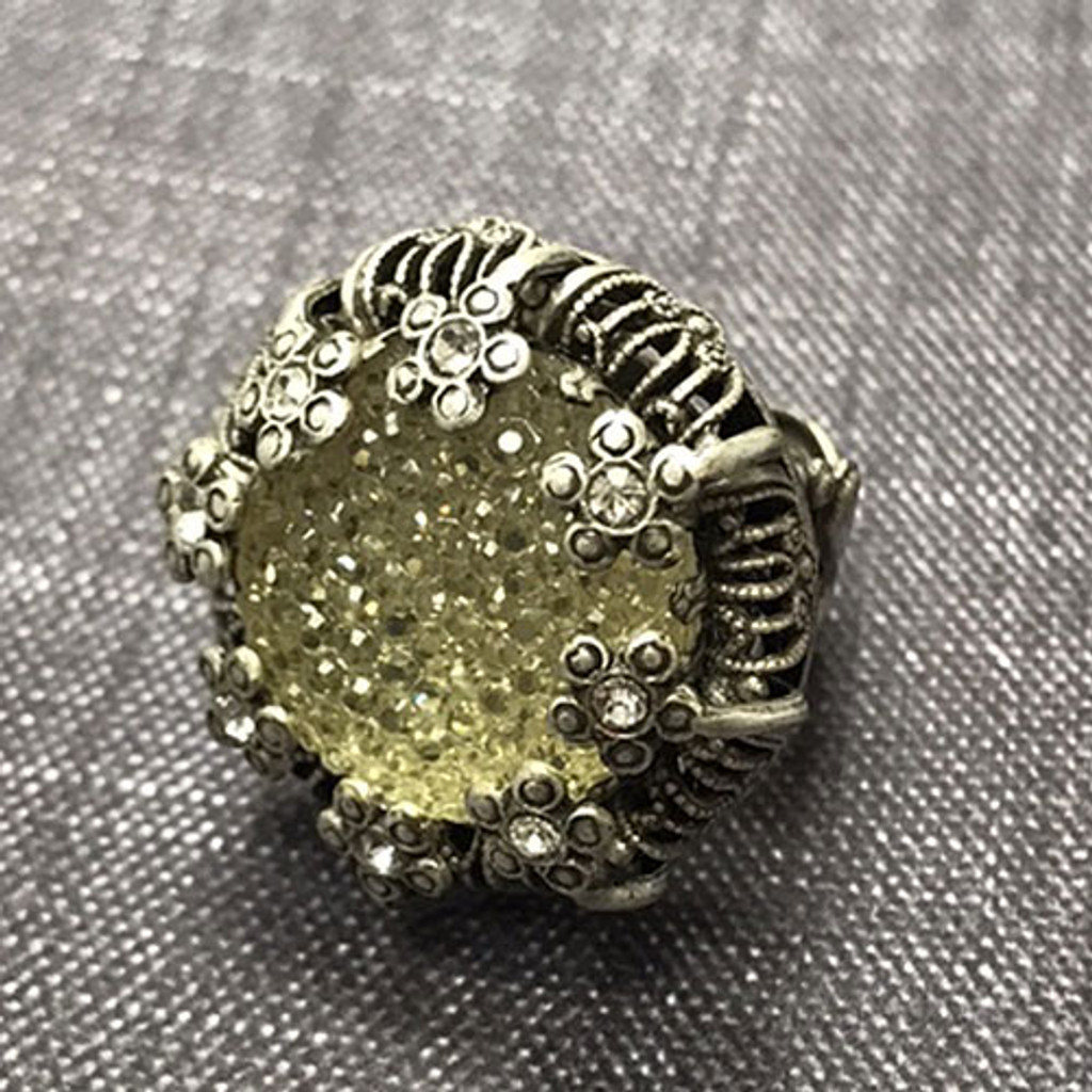 Vintage Crystal Sunflower Ring
