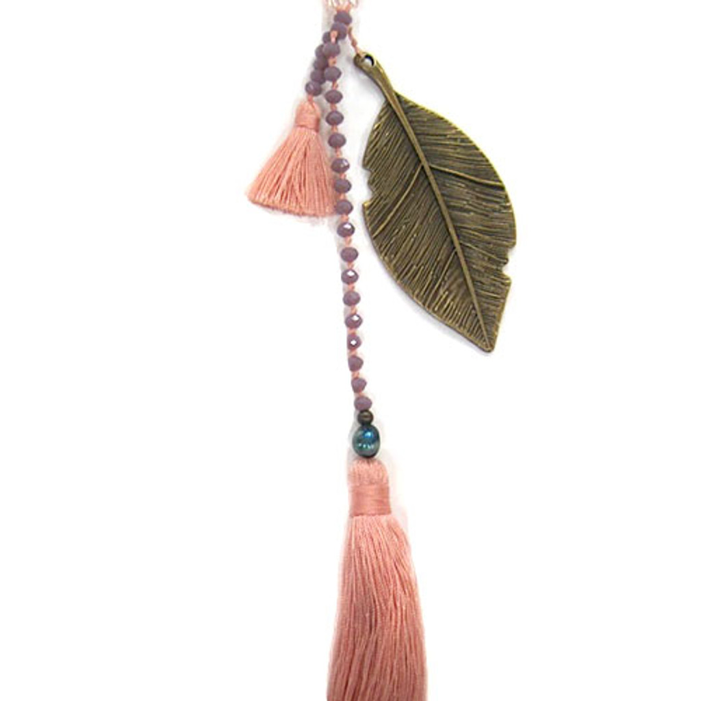 Zacasha's Crystals, Leaves and Peach Tassels Necklace