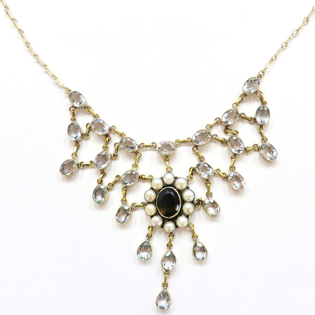 Vintage Inspired Heirloom Crystal Waterfall Necklace