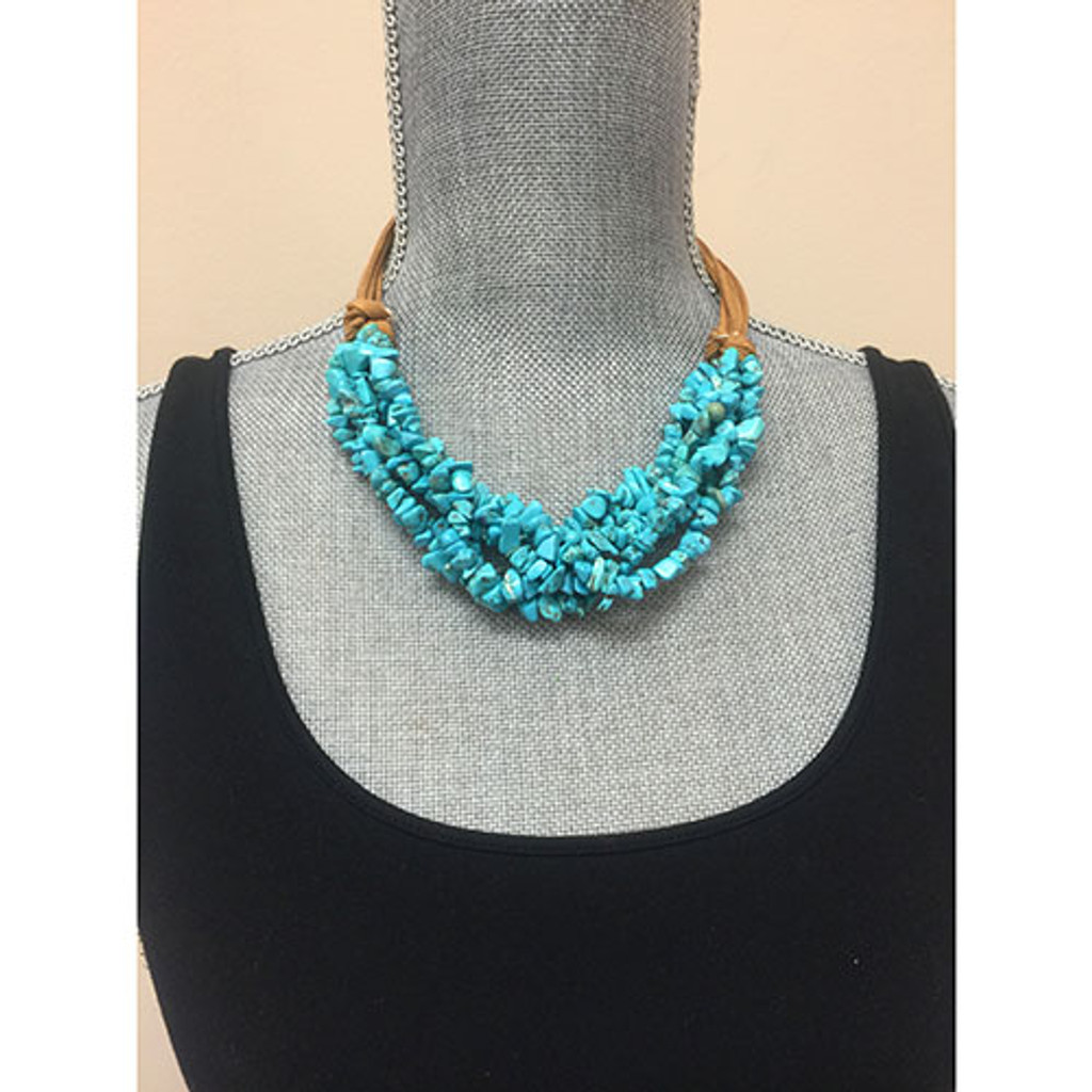 Genuine Turquoise Layers with Leather Necklace