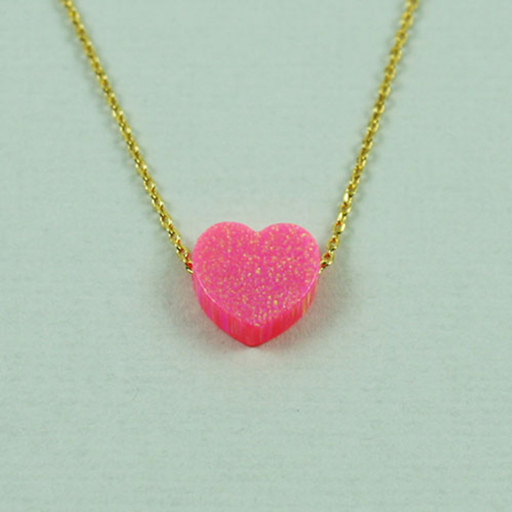 Pink Resin Opal Heart Necklace
